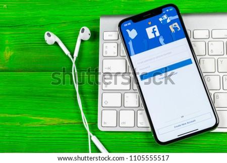 Sankt-Petersburg, Russia, June 2, 2018: Facebook application icon on Apple iPhone X smartphone screen close-up. Facebook app icon. Social media icon. Social network