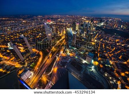 Aerial night panoramic view of business Istanbul, Turkey