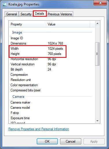تب Details از پنجره properties